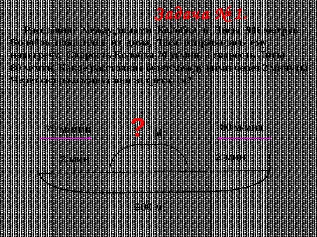 Задача № 1. Расстояние между домами Колобка и Лисы 900 метров. Колобок покат...