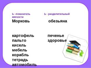 Ь –показатель Ь - разделительный мягкости Морковь обезьяна картофель печенье