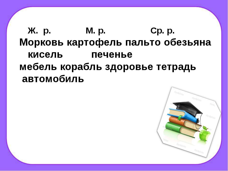 Ж. р. М. р. Ср. р. Морковь картофель пальто обезьяна кисель печенье мебель к...
