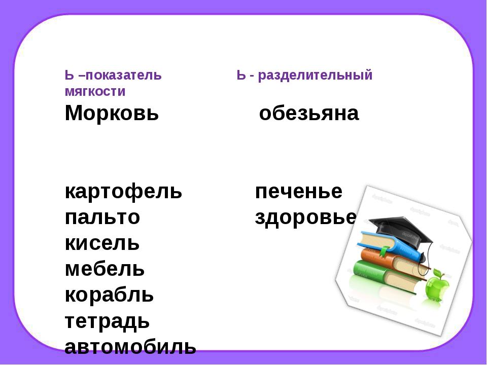 Ь –показатель Ь - разделительный мягкости Морковь обезьяна картофель печенье...