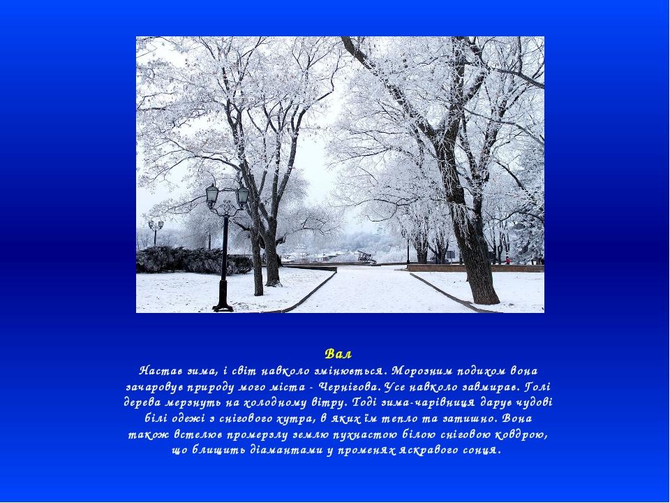 Вал Настає зима, і світ навколо змінюється. Морозним подихом вона зачаровує п...