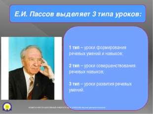Е.И. Пассов выделяет 3 типа уроков: 1 тип – уроки формирования речевых умений