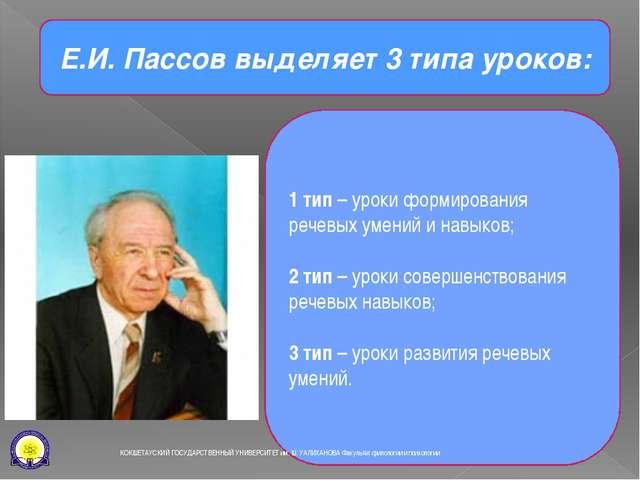 Е.И. Пассов выделяет 3 типа уроков: 1 тип – уроки формирования речевых умений...