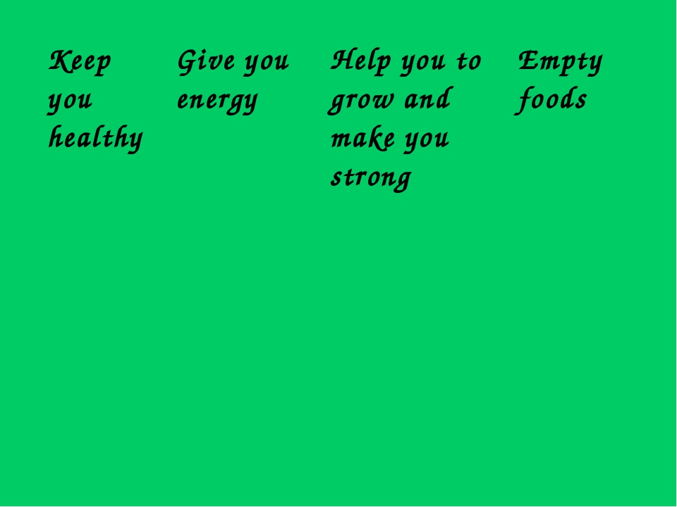 Keep you healthyGive you energyHelp you to grow and make you strongEmpty f...