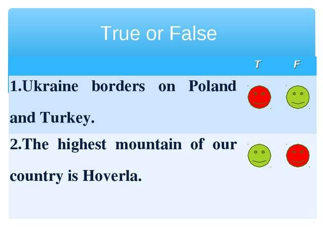 True or False TF 1.Ukraine borders on Poland and Turkey.  2.The highest m...