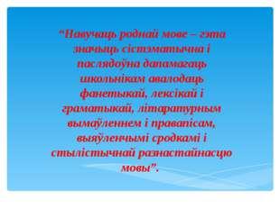 """""""Навучаць роднай мове – гэта значыць сістэматычна і паслядоўна дапамагаць шк"""