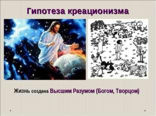 Жизнь создана Высшим Разумом (Богом, Творцом) Гипотеза креационизма