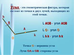 О В А Угол - это геометрическая фигура, которая состоит из точки и двух лучей