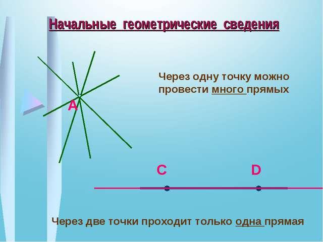 Начальные геометрические сведения Через одну точку можно провести много прямы...