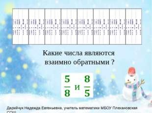 Какие числа являются взаимно обратными ?  Дарийчук Надежда Евгеньевна, учите