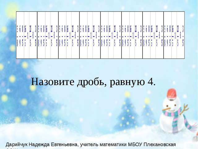 Назовите дробь, равную 4. Дарийчук Надежда Евгеньевна, учитель математики МБ...