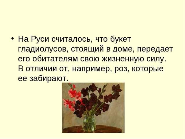 На Руси считалось, что букет гладиолусов, стоящий в доме, передает его обитат...