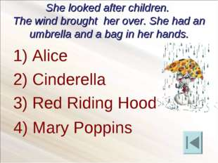 She looked after children. The wind brought her over. She had an umbrella and