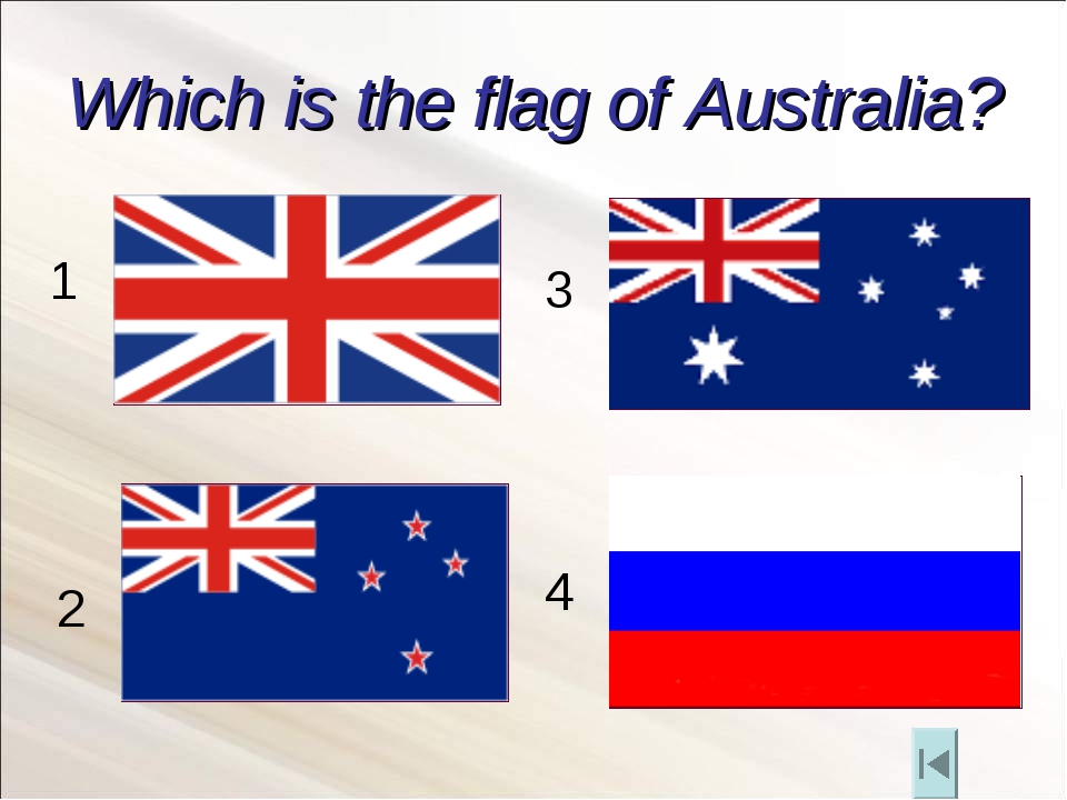 Which is the flag of Australia? 1 2 3 4