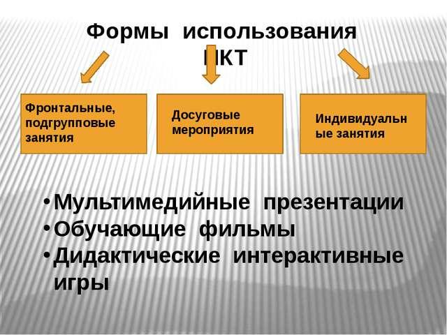 Формы использования ИКТ Фронтальные, подгрупповые занятия Индивидуальные заня...