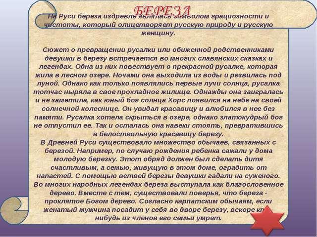 На Руси береза издревле являлась символом грациозности и чистоты, который ол...