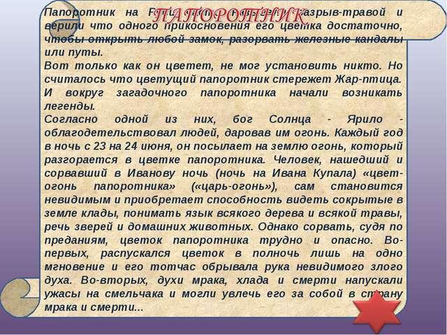 Папоротник на Руси часто называли разрыв-травой и верили что одного прикоснов...