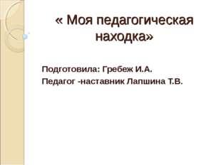 « Моя педагогическая находка» Подготовила: Гребеж И.А. Педагог -наставник Лап