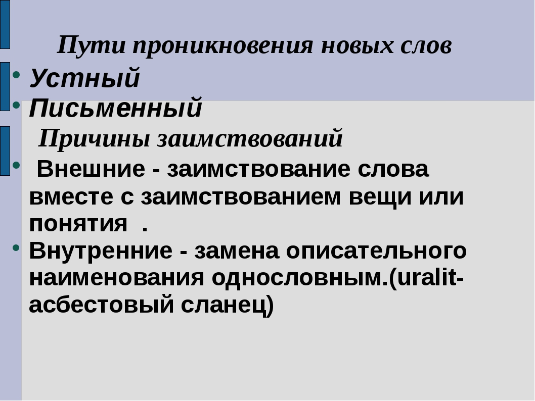 Пути проникновения новых слов Устный Письменный Причины заимствований Внешни...