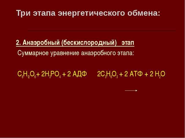 Три этапа энергетического обмена: 2. Анаэробный (бескислородный) этап Суммарн...