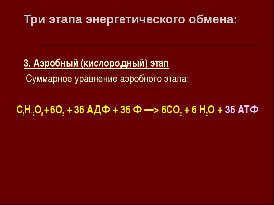 Три этапа энергетического обмена: 3. Аэробный (кислородный) этап Суммарное ур...