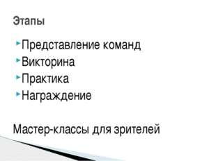 Представление команд Викторина Практика Награждение Мастер-классы для зрителе