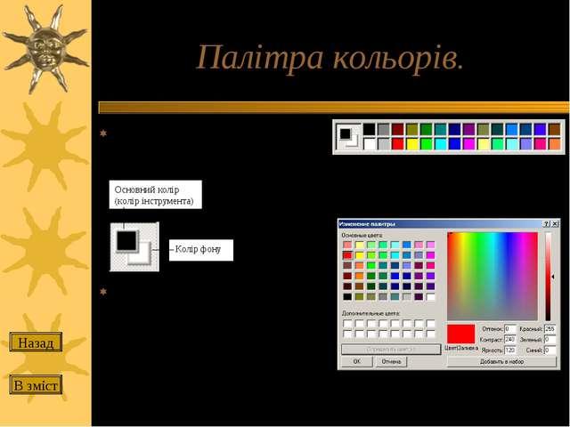 Палітра кольорів. Основний колір вибирається лівою кнопкою миші на палітрі, а...