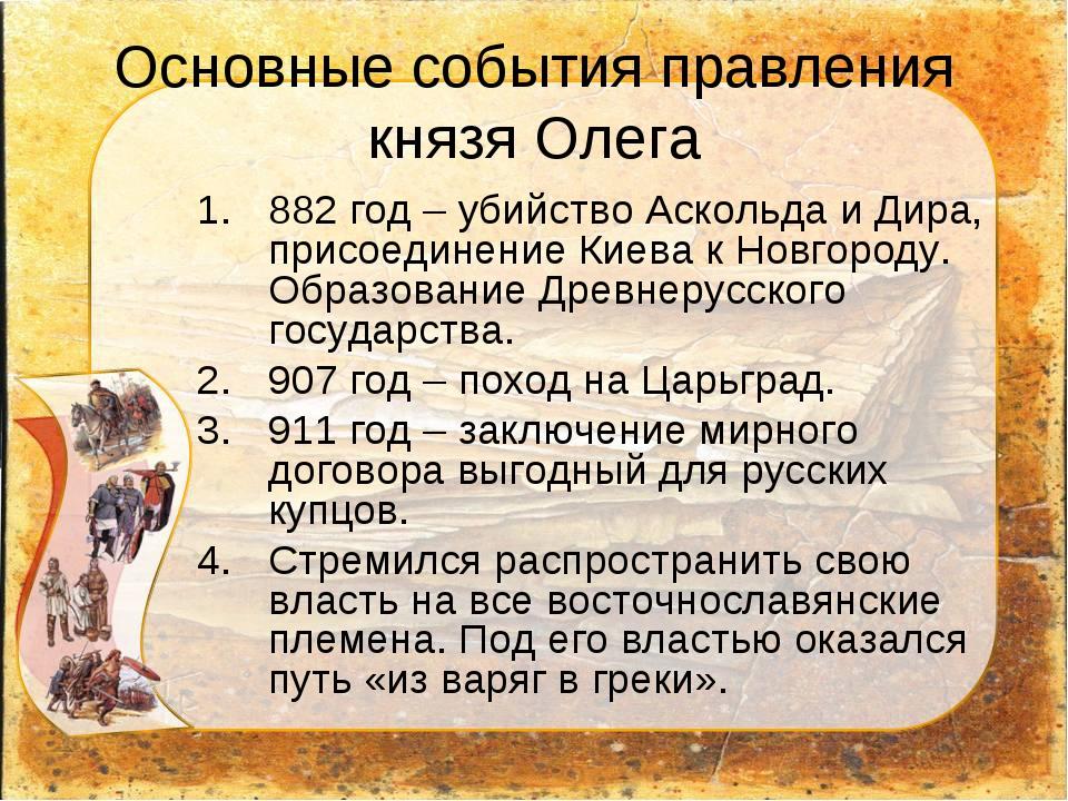 Основные события правления князя Олега 882 год – убийство Аскольда и Дира, пр...