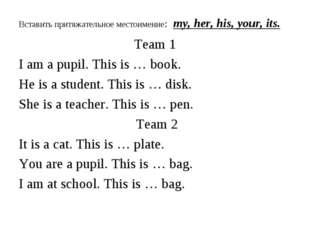 Вставить притяжательное местоимение: my, her, his, your, its. Team 1 I am a p