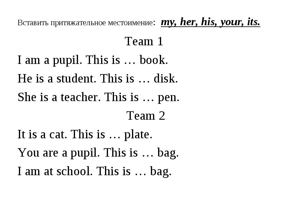 Вставить притяжательное местоимение: my, her, his, your, its. Team 1 I am a p...