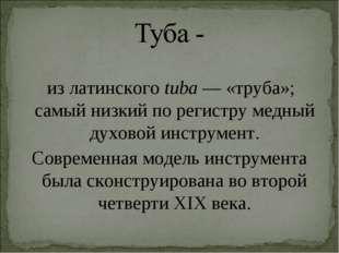 из латинскогоtuba— «труба»; самый низкий по регистру медный духовой инстру