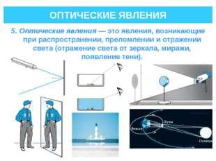 ОПТИЧЕСКИЕ ЯВЛЕНИЯ 5. Оптические явления— это явления, возникающие при распр