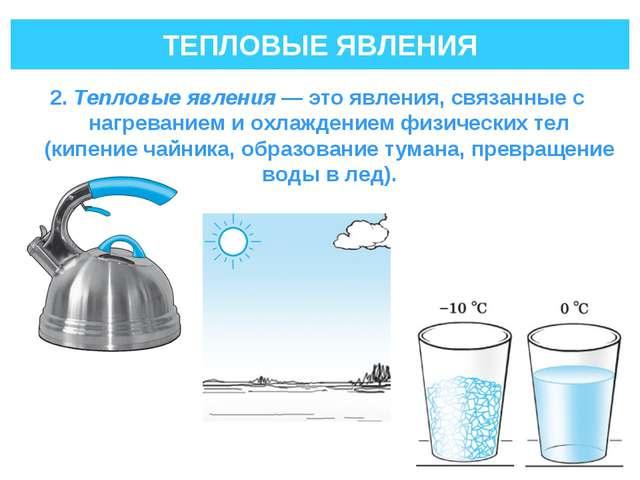 ТЕПЛОВЫЕ ЯВЛЕНИЯ 2. Тепловые явления— это явления, связанные с нагреванием и...