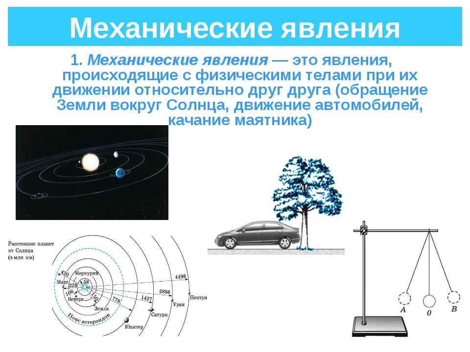 Механические явления 1. Механические явления— это явления, происходящие с фи...