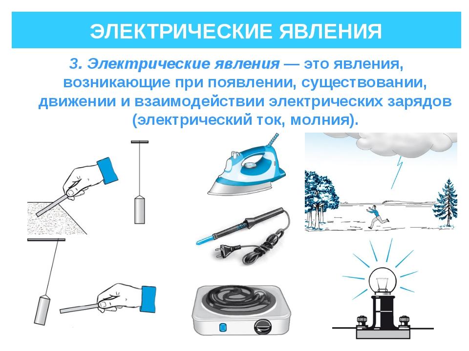 ЭЛЕКТРИЧЕСКИЕ ЯВЛЕНИЯ 3. Электрические явления— это явления, возникающие при...