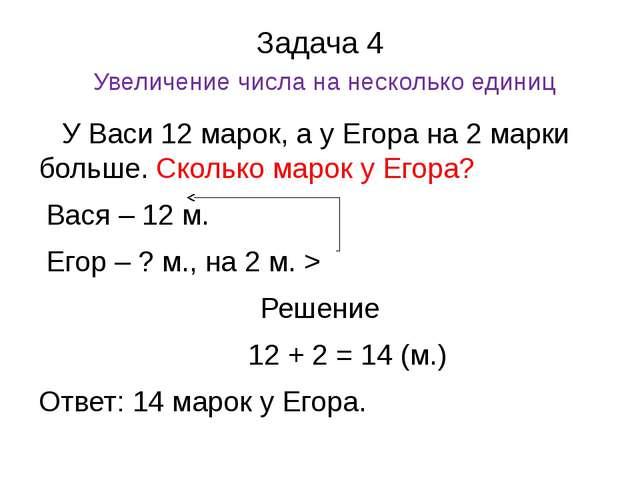 Задача 4 Увеличение числа на несколько единиц У Васи 12 марок, а у Егора на 2...