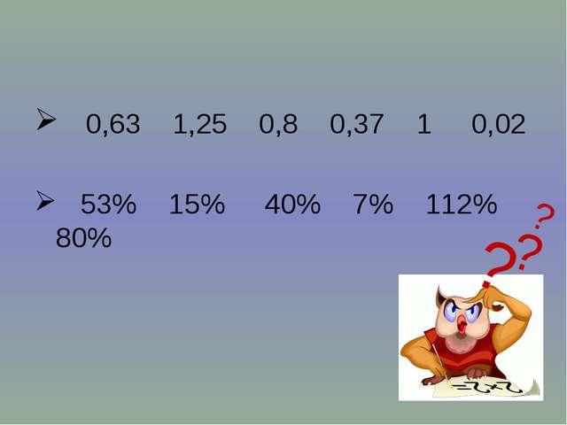 0,63 1,25 0,8 0,37 1 0,02 53% 15% 40% 7% 112% 80% ? ? ?