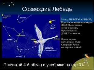 Созвездие Лебедь Прочитай 4-й абзац в учебнике на стр.31 Между ЦЕФЕЕМ и ЛИРОЙ