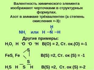 Валентность химического элемента изображают черточками в структурных формулах