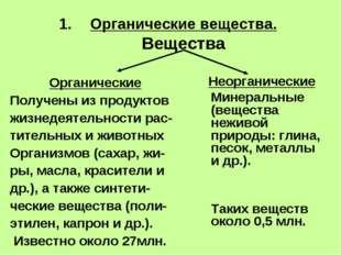 Органические вещества. Вещества Органические Получены из продуктов жизнедеяте