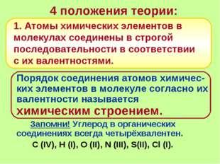 4 положения теории: Порядок соединения атомов химичес-ких элементов в молеку