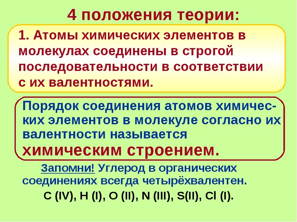 4 положения теории: Порядок соединения атомов химичес-ких элементов в молеку...