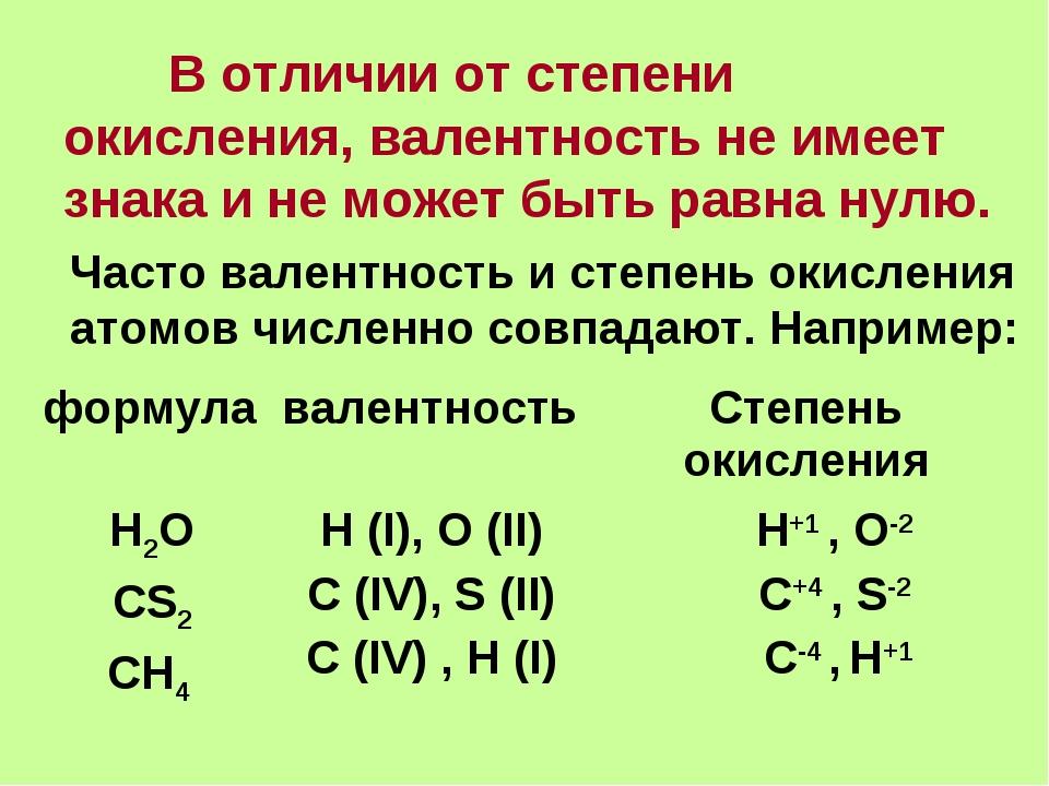 В отличии от степени окисления, валентность не имеет знака и не может быть р...