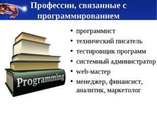 Профессии, связанные с программированием программист технический писатель тес