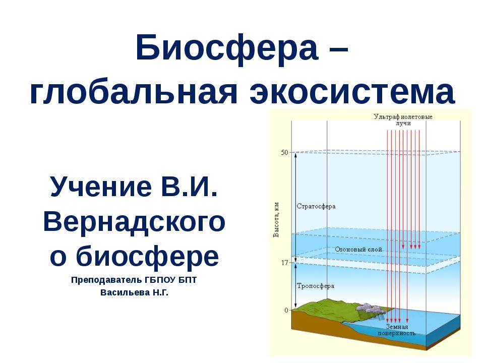 Биосфера – глобальная экосистема Учение В.И. Вернадского о биосфере Преподава...