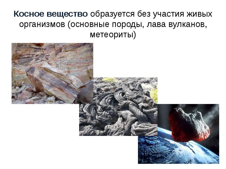 Косное вещество образуется без участия живых организмов (основные породы, лав...