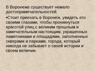 В Воронеже существует немало достопримечательностей. Стоит приехать в Воронеж