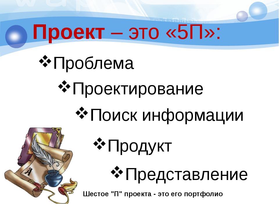 Проблема Проект – это «5П»: Проектирование Поиск информации Продукт Представл...