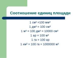 Соотношение единиц площади 1 см² =100 мм² 1 дм² = 100 см² 1 м² = 100 дм² = 10