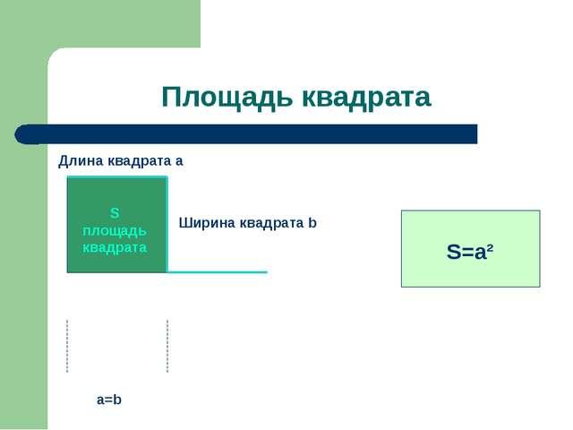 Площадь квадрата Длина квадрата а Ширина квадрата b S площадь квадрата a=b S=a²